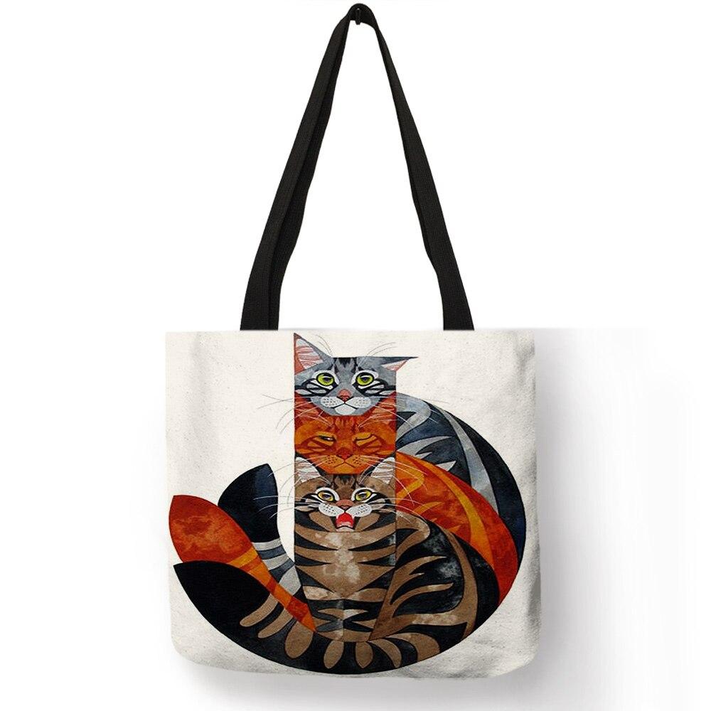 Women Travel Practical Shoulder Bag Cartoon Lovely Cat Printed Durable Linen Tote Bag For Marketing Girls Casual School Handbag