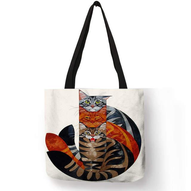 d867f9be0138 Women Travel Practical Shoulder Bag Cartoon Lovely Cat Printed Durable  Linen Tote Bag for Marketing Girls Casual School Handbag