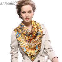 [Baoshidi] 100%ผ้าไหม,แฟชั่นผีเสื้อพิมพ์ผู้หญิงผ้าพันคอ,ลายตารางผ้าพันคอ,ฤดูใบไม้ร่วงผ้าพันคอแบรนด์หรูสำหรับสุภาพสตรีที่สง่างาม