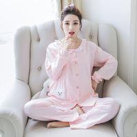 Pregnant Women Feeding Milk Clothes Pajamas Spring Autumn Pure Cotton Women Suit