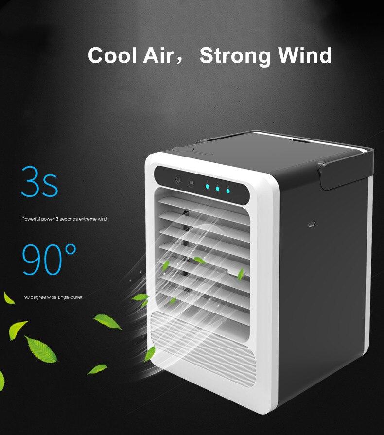 Mini Portable Cooling Fan Portable Fan USB Mini Air Cooler Colorful LED Light Fan Air Cooling Fan