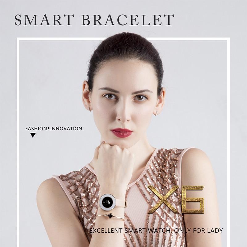 Women s Smart Watch X6 Heart Rate Pedometer IP68 Waterproof Female fitness tracking Smart Bracelet Bluetooth