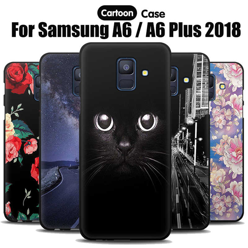 JURCHEN Soft TPU For Samsung Galaxy A6 2018 Case Cover Silicone Cartoon Print Phone Case For Samsung Galaxy A 6 Plus 2018 Case