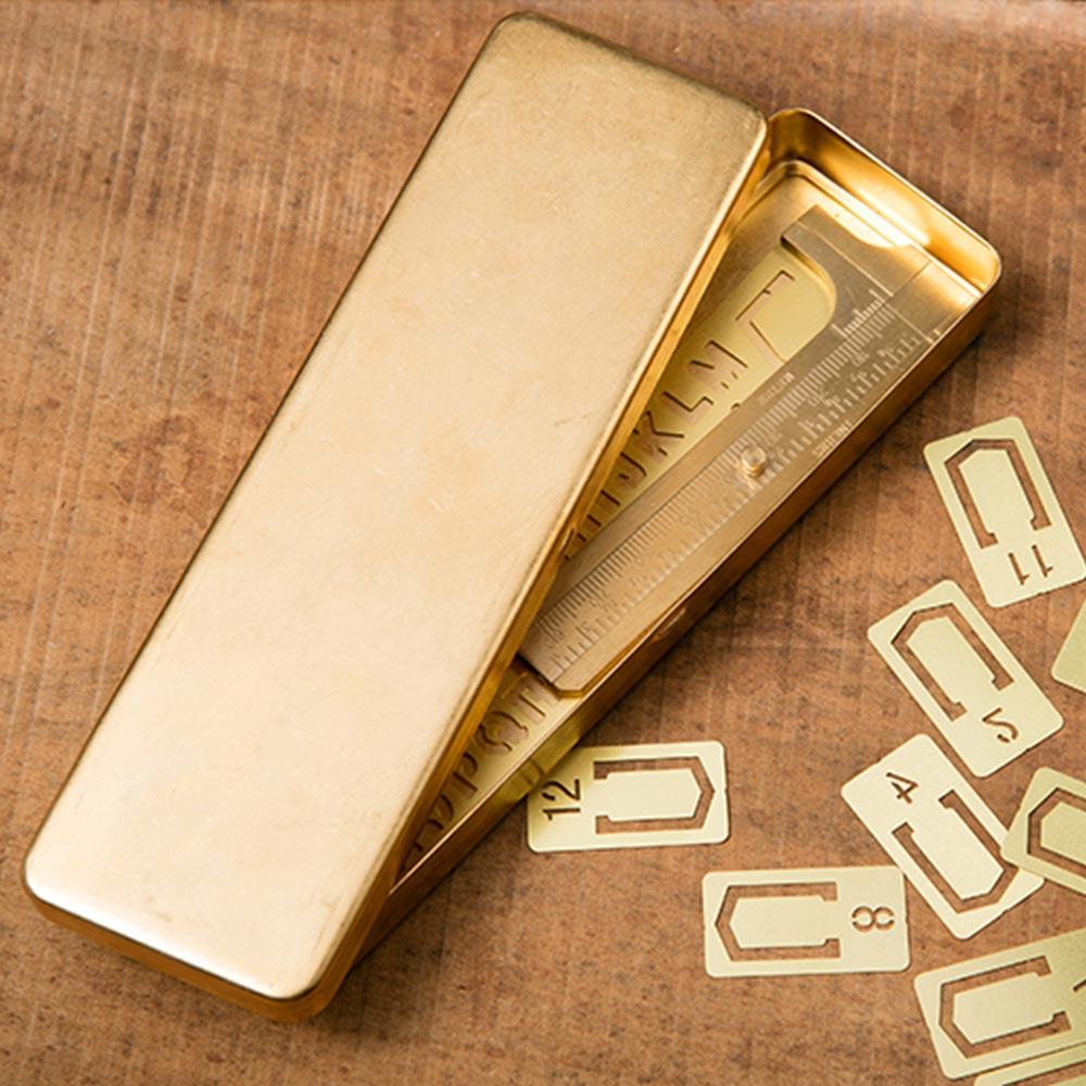Latão artesanal do vintage caneta lápis caso