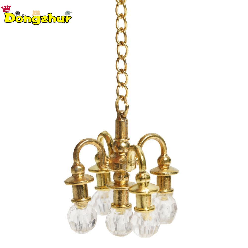 1//12 Scale Miniature Gold Candelabra 5 White Candles Dollhouse Kitchen toy GN
