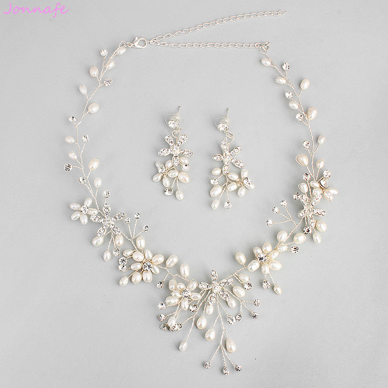 Jonnafe Handmade Freshwater Pealrs Bridal Necklace with Earrings Gorgeous Women Prom Jewelry Sets Bridal Accessories