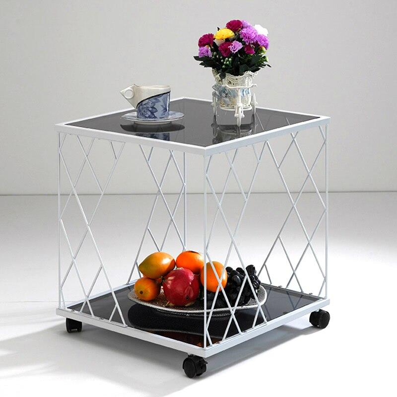 Verre et métal canapé moderne petite Table basse Angle Simple mode petit verre trempé canapé Table d'angle