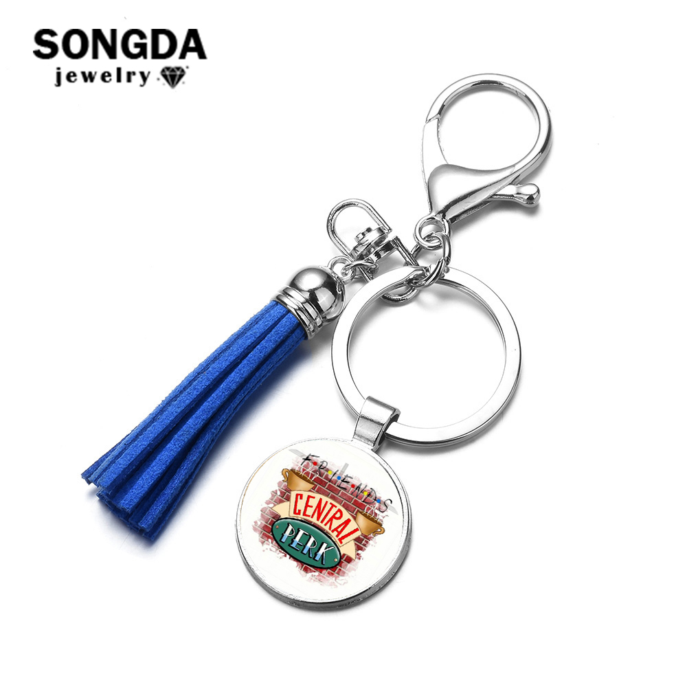 SONGDA Friends TV Show Jewelry Central Perk Coffee Time Keychain Fashion 10 Style Glass Photo Cabochon Tassel Key Ring Llaveros image