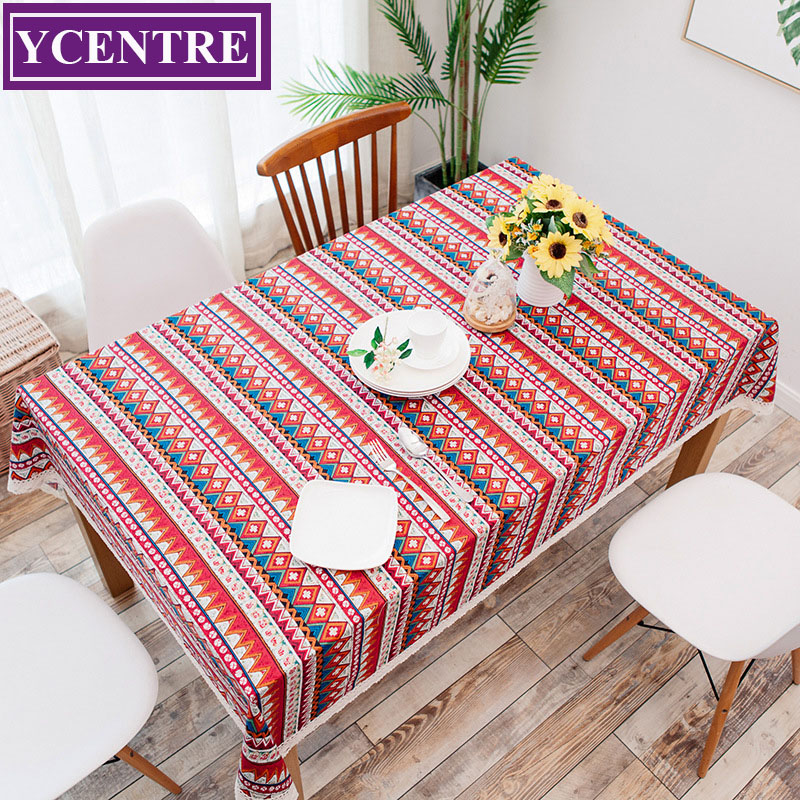 YCENTRE Colorful Geometric Printed High Density Tablecloth