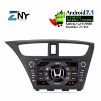 8 Android 1 Din Car Radio DVD Stereo For Civic Hatchback 2013 2014 2015 AutoRadio GPS Glonass Navigation Audio Video Multimedia