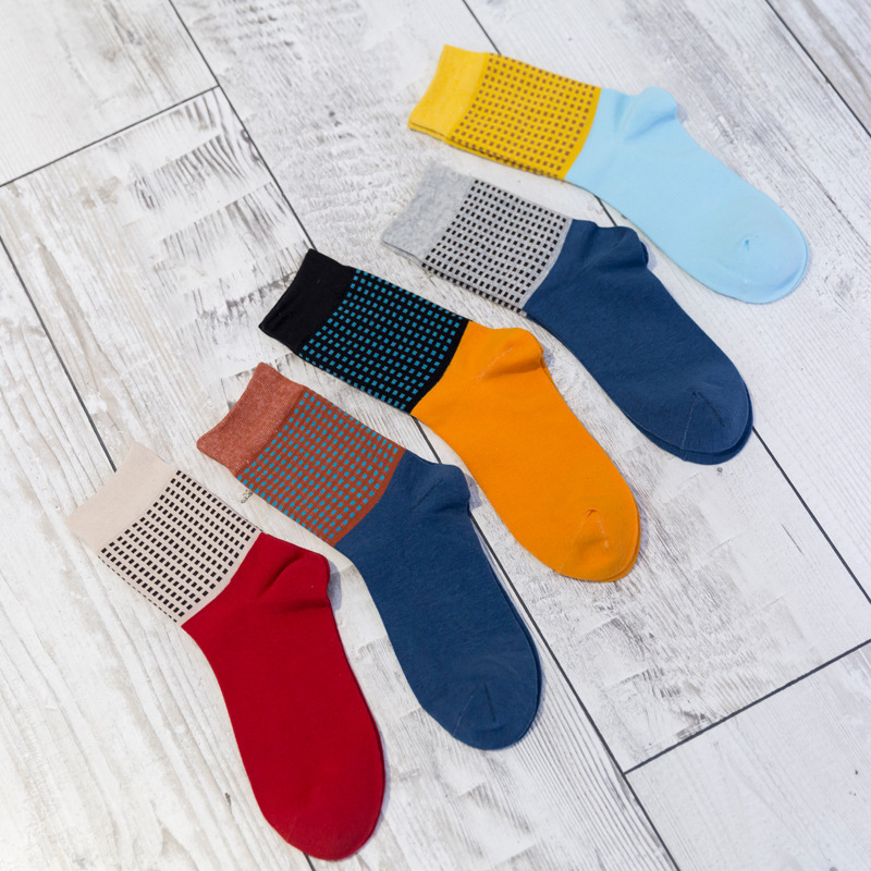 men fashion small lattice cotton socks autumn winter male colorful high socks 5pairs/lot