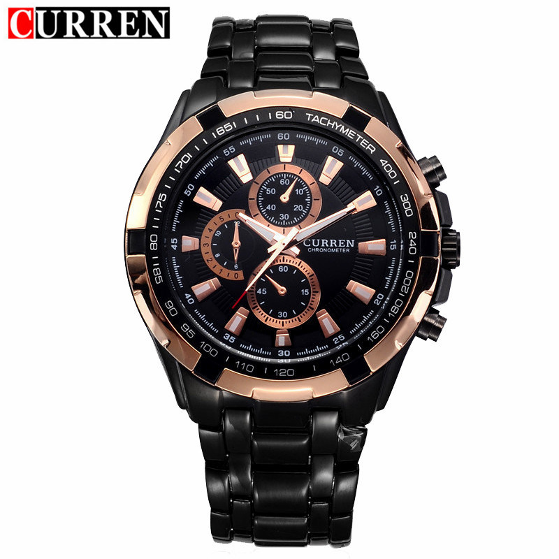 Curren Watch Mens Brand Luxury Black Stainless Steel Quartz Wrist Watches Waterproof Military Sport Male Clock Relogio Masculino mce top brand mens watches automatic men watch luxury stainless steel wristwatches male clock montre with box 335