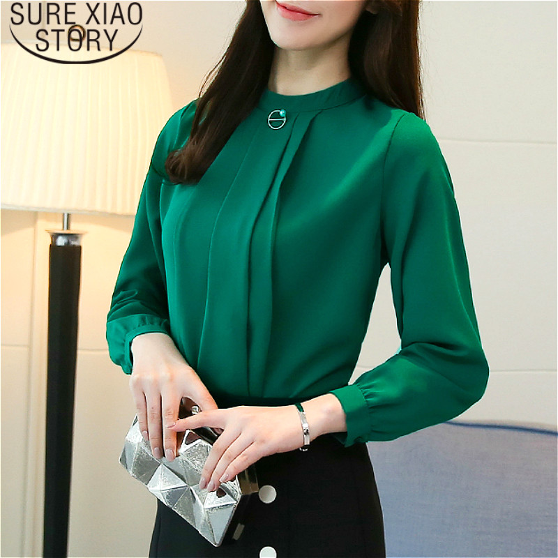 blusas mujer de moda 2019 womens tops and blouses  Beading  chiffon blouse  Solid  Stand  women blouses  shirt  tops 1956 50