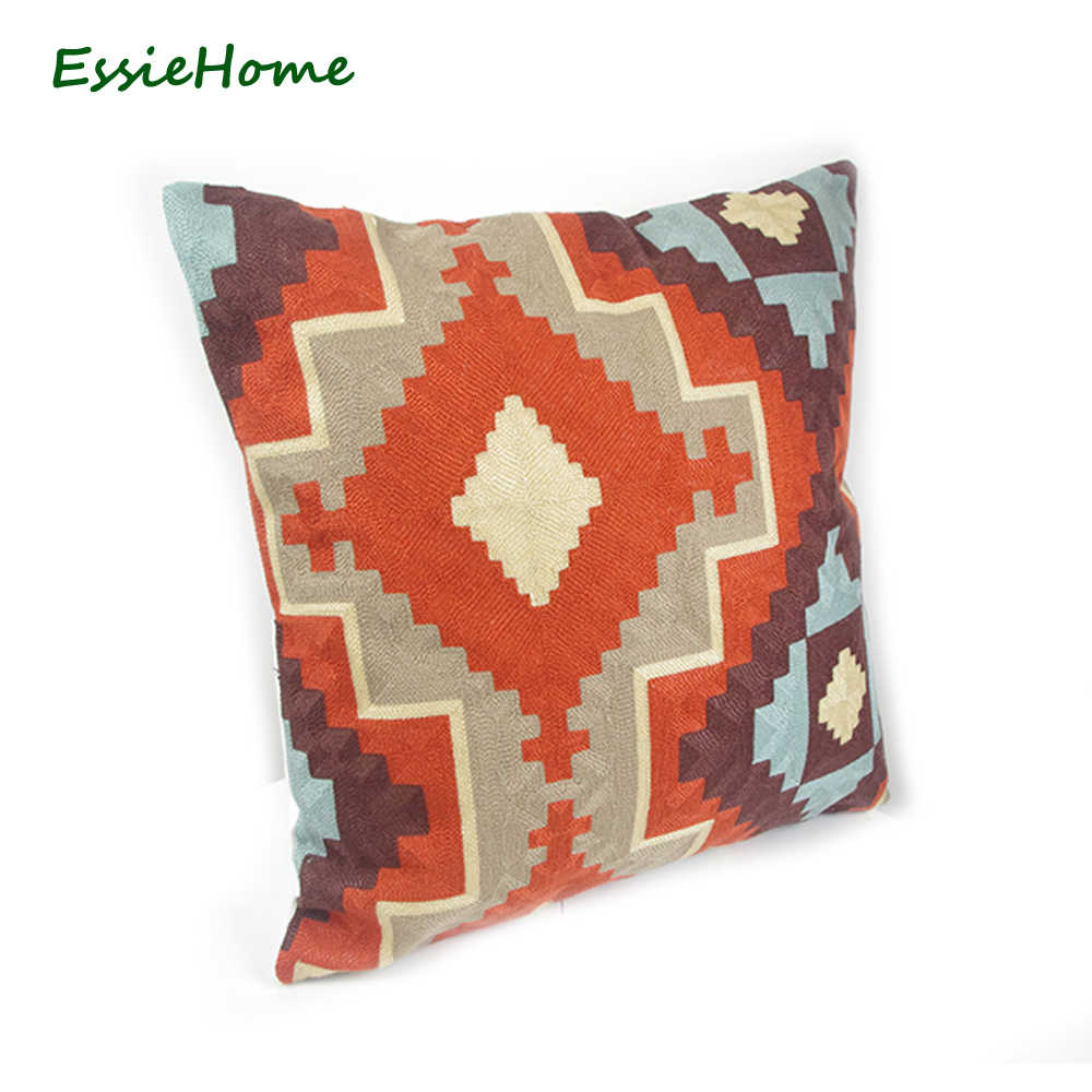 essie home full embroidery chain embroidery 18 high end kilim pattern cushion cover pillow case rust red red throw embroidery c cushion cover cushion cover patternpattern cushion covers aliexpress