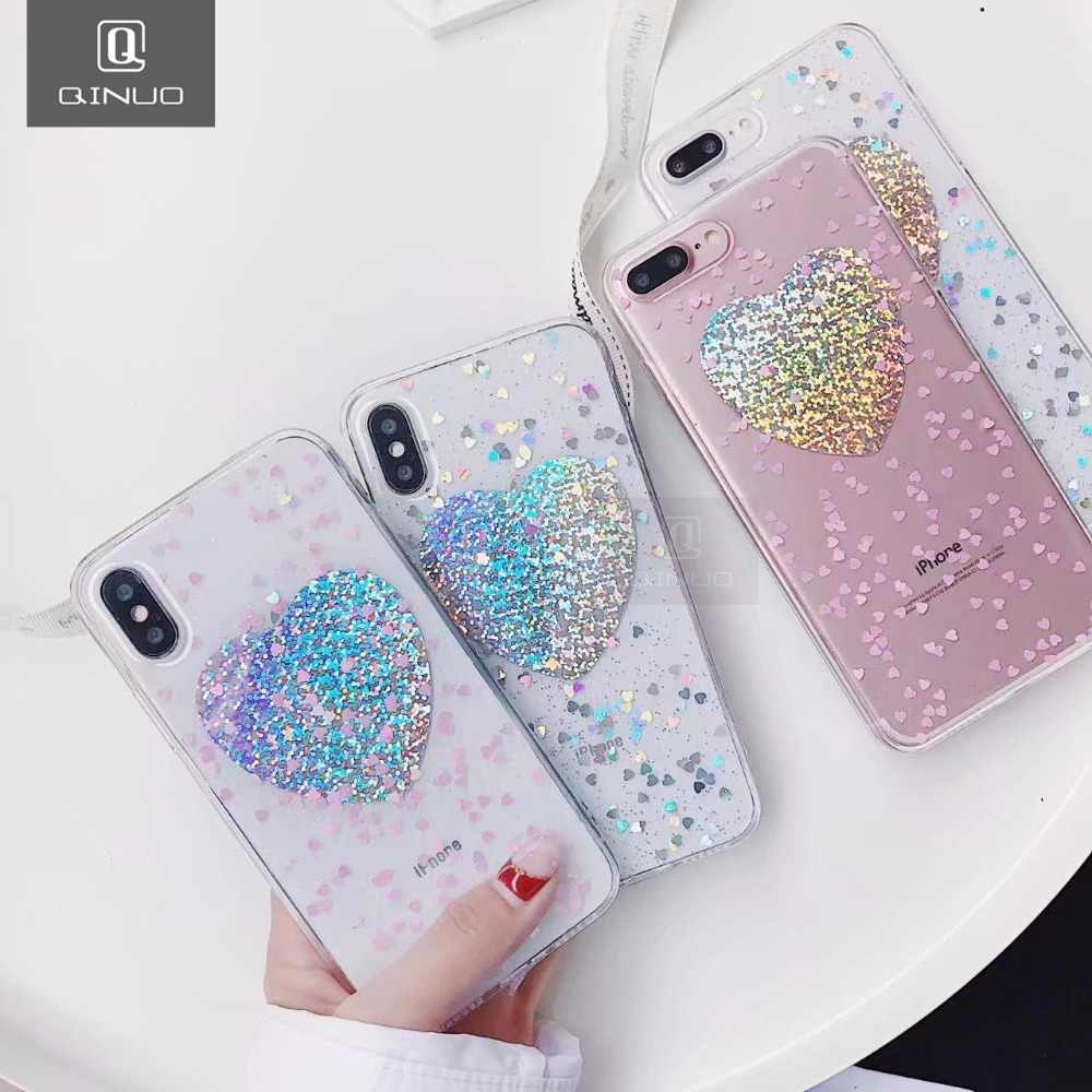 097a6097aa QINUO Laser Hearts Love Glitter Transparent Clear Phone Case Cover Coque  For iPhone 6 6S 7