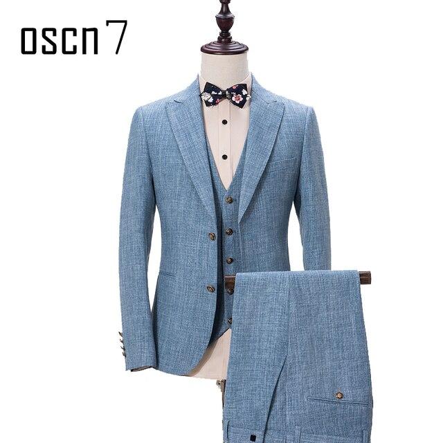 00f1c9daa91 OSCN7 cielo azul 3 piezas traje para los hombres solapa partido vestido de  los hombres trajes