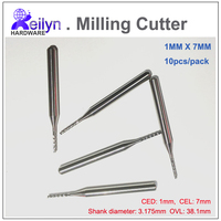 10pc 1 0x7 0x3 175mm PCB Milling Cutter Carbide End Mill CNC Cutter Mini Drill Bit