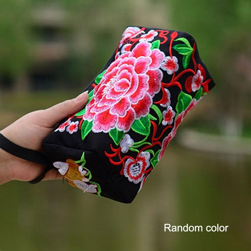 Handbag Purse Flowers Embroidery Female Bag Ethnic Long Women MSJ99 National Wallet Phone