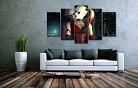5 Panels Wall Art Suicide Squad Harley Quinn Joker Movie Poster Painting Art Print Unframed 3500