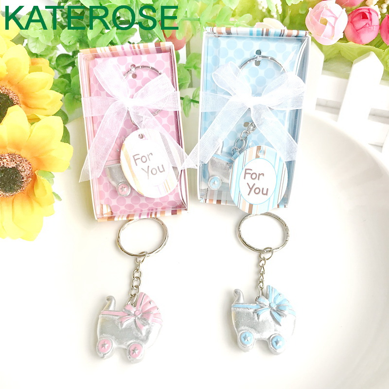 FREE SHIPPING  30PCS/LOT New Baby Shower Favors Pink/Blue Baby Carriage Design Key Chains Birth Christening Gift Keychain Favor