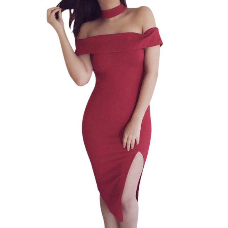 Summer <font><b>Style</b></font> <font><b>Women</b></font> Bodycon Vestidos <font><b>Sexy</b></font> <font><b>2018</b></font> <font><b>New</b></font> Arrival Casual Black Red Neck Midi Party <font><b>Dress</b></font> image
