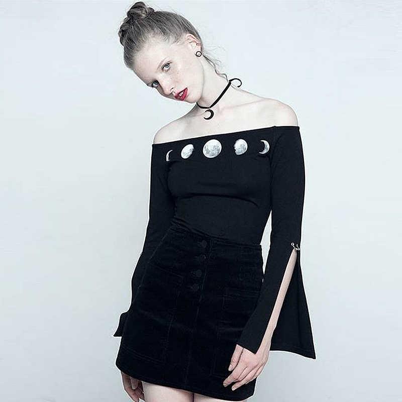 InstaHot Готическая Раздвоенная вспышка с рукавом Боди для женщин с принтом Луны Slash шеи с открытыми плечами черные панк эластичные крутые наряды