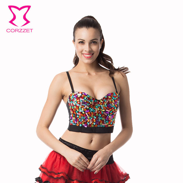 d441104f7 Corzzet Burlesque Underwear Women Beading Sequins Studded Brassiere Push Up  Bra Sexy Lady Bustier Bras Punk