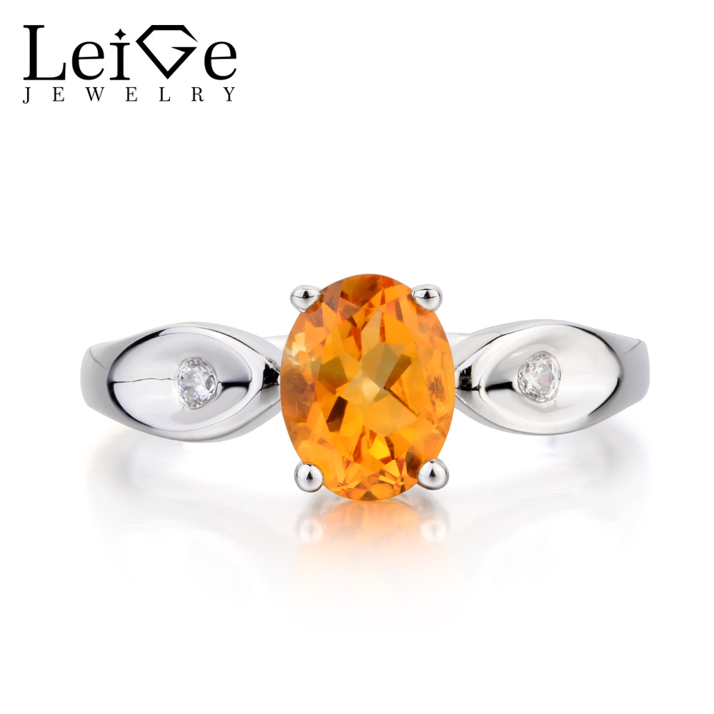 Leige Jewelry Natural Citrine Ring Citrine Engagement Ring Oval Cut Yellow Gemstone Solid 925 Sterling Silver Gifts for Women топ женский insight citrine yellow