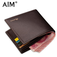 AIM Classic Men Brown Wallets Famous Brand Design 100 Real Genuine Leather Wallet Daily Standard Retro
