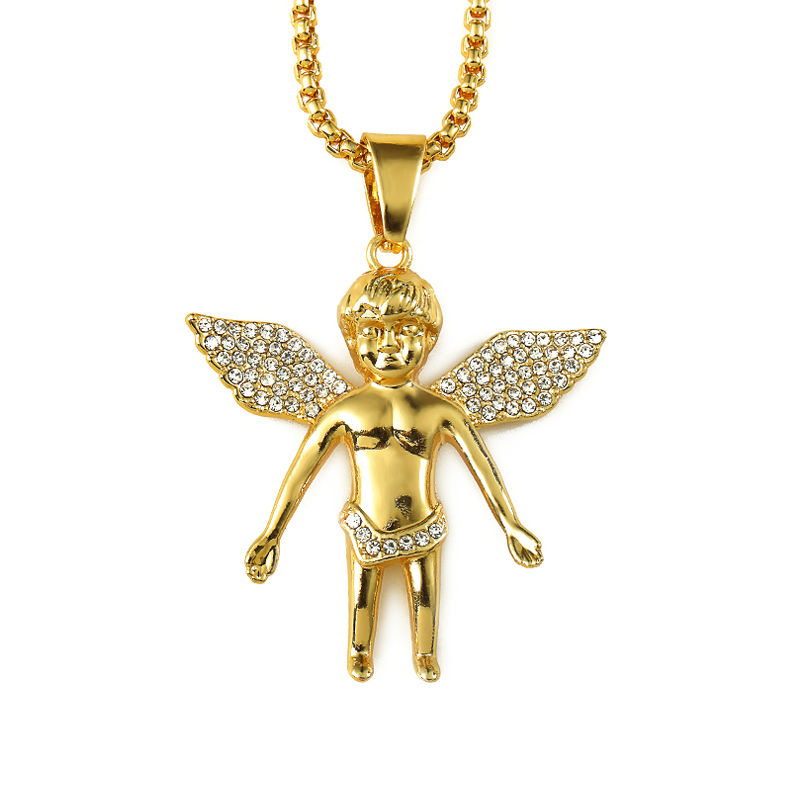 Mens Hiphop Jewelry Micro Angel Piece Necklace Charm Color Gold