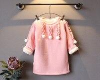 2016 Autumn Winter New Arrival Soild Cute Children Girl Princess Dresses Cashmere Casual Fashion Kids Girl