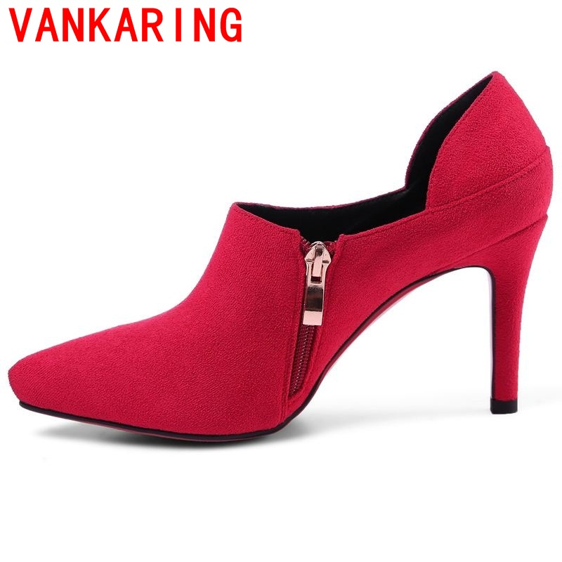 ФОТО VANKARING shoes 2017 women shoes european and american style fashion classic red black pointed toe side zipper sexy thin heels
