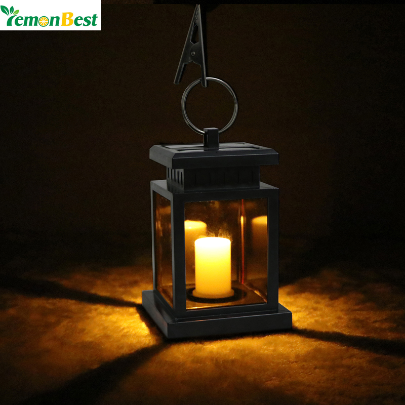 Waterproof Flickering Flameless Solar Led Candle Light Outdoor Hanging Lantern Smokeless For Garden Yard Lawn Patio
