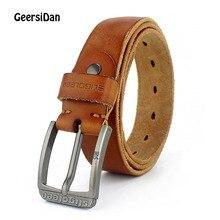 лучшая цена GEERSIDAN 100% cowhide genuine leather belt for men Strap male pin buckle vintage jeans cowboy Casual designer brand men belt