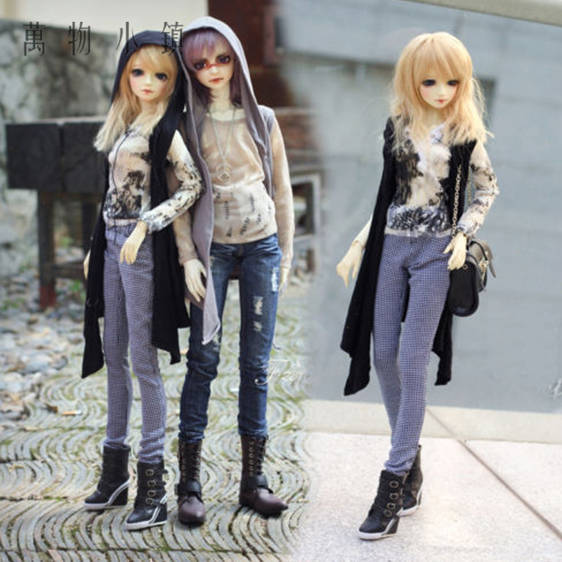 New Black/Gray/Black Sequins Sleeveless Long Cardigan Shirt For BJD 1/3 1/4 MSD Doll Clothes