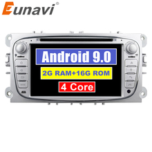 Eunavi 2 Din Android 8,1 Щепка четырехъядерный автомобиль DVD Радио стерео плеер для Ford Focus Mondeo S-Max Cmax Galaxy 3g wifi AUX аудио