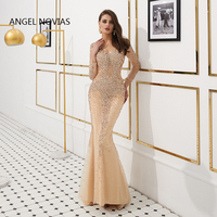 ANGEL NOVIAS Long Sleeves Luxury Mermaid V Neck Abendkleider Glitters Champagne Evening Dresses 2019 crystal dress party