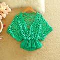 2016 summer new fashion women batwing sleeve lace blouse flower crochet chiffon bottom cropped peplum tops