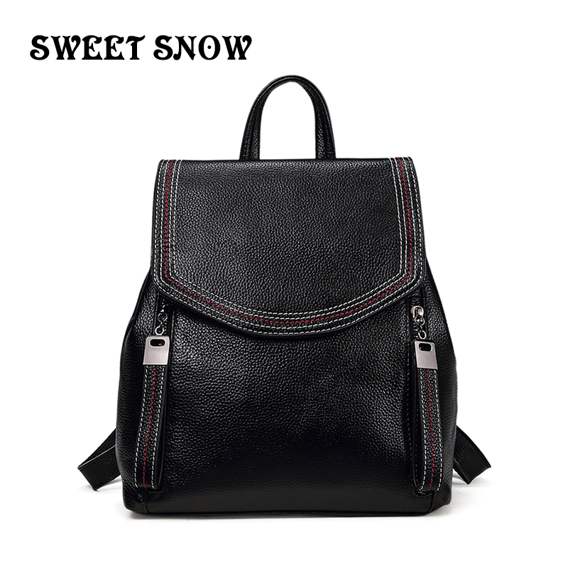 SWEET SNOW Female Backpack Mochila Feminina Vintage C Women Leather Backpack Female Shoulder Bag Travel Back