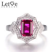 LeiGe Jewelry Ruby Silver Rings Proposal Rings Emerald Cut Red Stone Ring July Birthstone 925 Sterling Silver Romantic Gifts