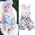 Macacão flor 2016 nova infante recém-nascido Baby Girl Floral Casual Lace Bow manga curta bonito azul macacão Outfits Sunsuit verão