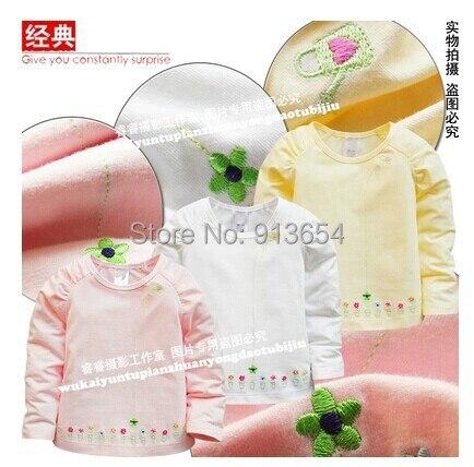Одежда для младенцев весна осень младенцы футболки 100% хлопок длинный рукав девочки верхний младенцы блузка дети t рубашка