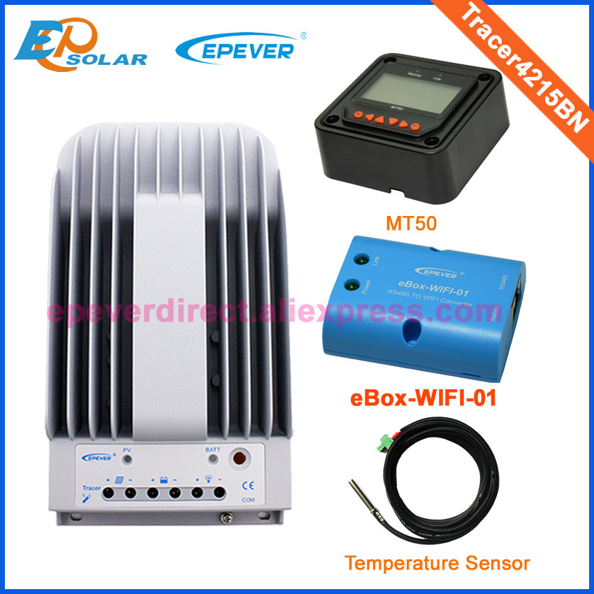 Solar charger controller mppt 40A Tracer4215BN with the MT50 remote meter wifi function and temperature sensor Max Pv Input 150v tracer2210a black mt50 remote meter mppt solar battery controller with usb and temperature sensor 20a
