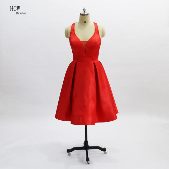 016539ed6 Sexy sin espalda corto vestidos de cóctel 2019 rojo de satén vestidos  fiesta barato sin mangas