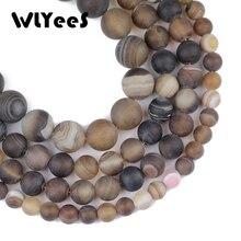 WLYee Black Matte Stripe carnelian beads Natural Stone 6 8 10 mm Round ball Loose bead for jewelry Accessory Bracelet Making DIY