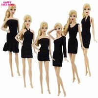 6 Pcs Black Dress Handmade Wedding Party Outfit Classic Cool Casual Wear Short Costume Clothes For