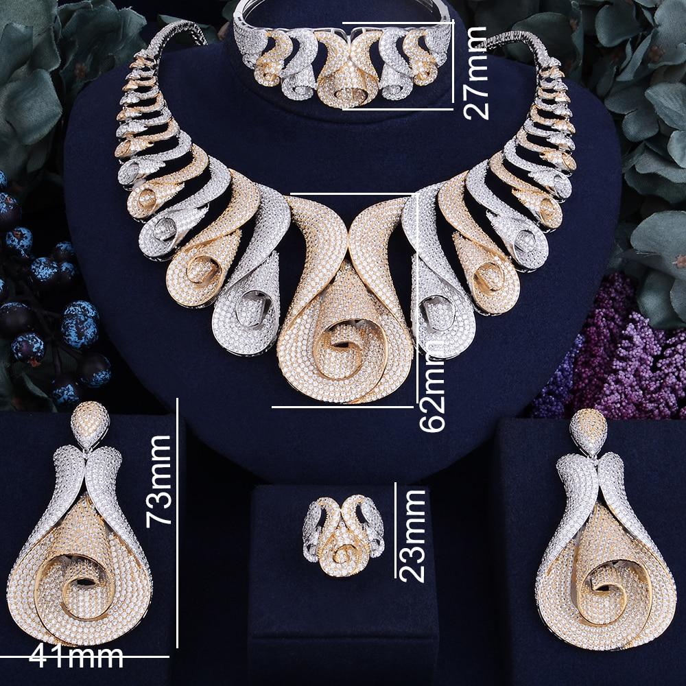 Image 4 - GODKI 62MM Flower Super Luxury Women Nigerian Wedding Naija Bride Cubic Zirconia Necklace Ring Bangle Earring Dubai Jewelry Set-in Jewelry Sets from Jewelry & Accessories