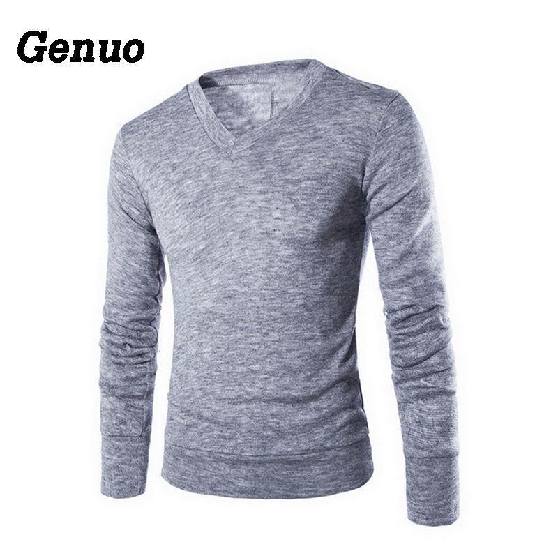 Genuo 2019 Men Clothes Casual Slim Fit Sweater Fashion Autumn Solid Slim Pullovers Men's V-Neck Casual Sweaters Top Pull Homme