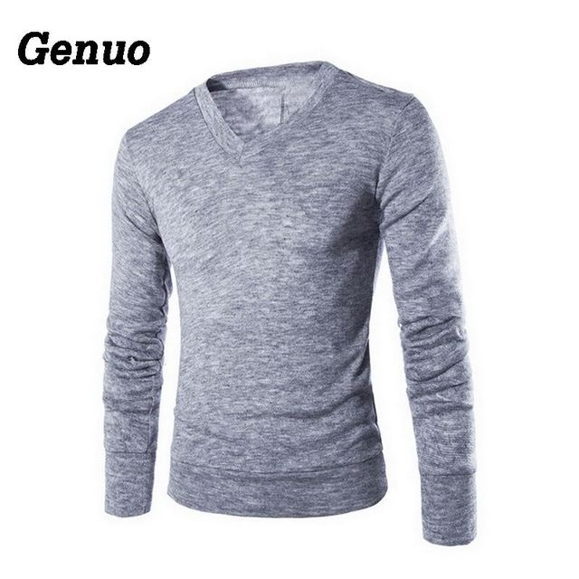 Genuo 2018 Men Clothes Casual Slim Fit Sweater Fashion Autumn Solid Slim Pullovers Men's V-Neck Casual Sweaters Top pull homme