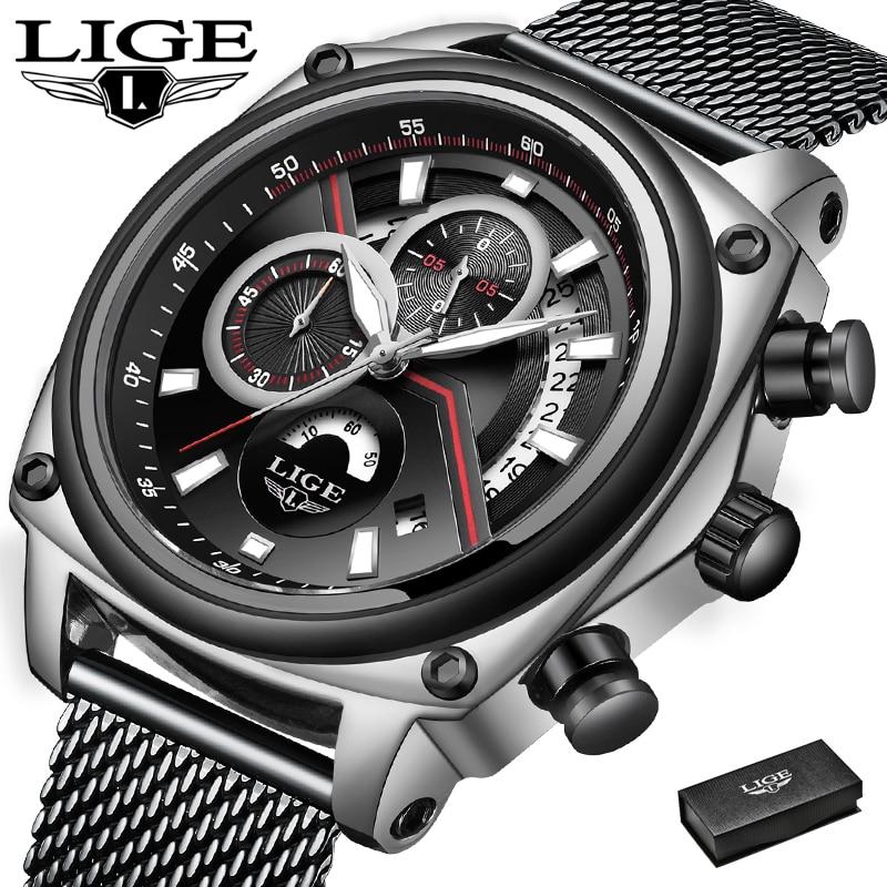 LIGE Mens Watches Military Sports Watch Men Net with Waterproof Watch Chronograph Quartz Watch Top Brand Relogio Masculino+Box